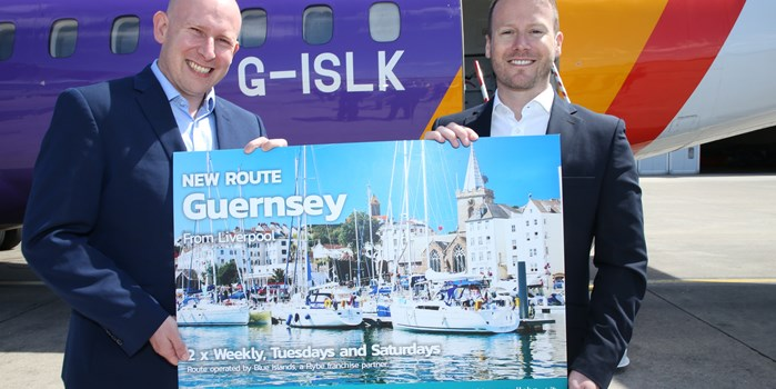 LJLA's Paul Winfield with Rob Veron, of Blue Islands celebrating the start of new route.