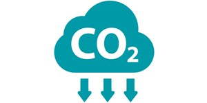 Icon of a cloud showing CO2 falling from it